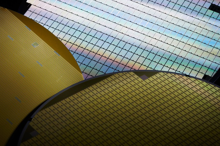 Silicon wafers close up.