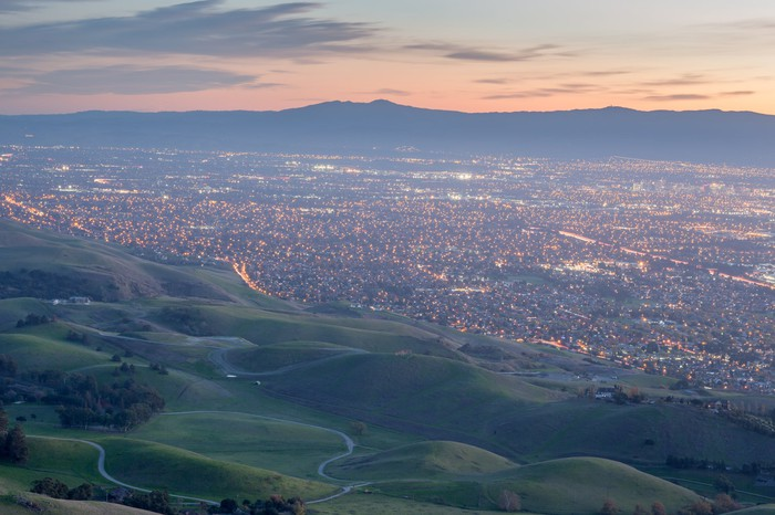 View of Silicon Valley from a mountaintop.