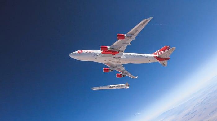 Virgin Orbit plane releasing small satellite in test flight