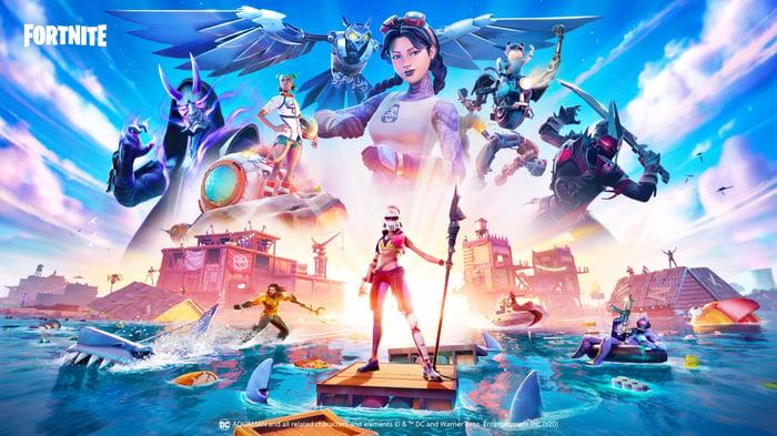 Affiche avec des personnages Fortnite