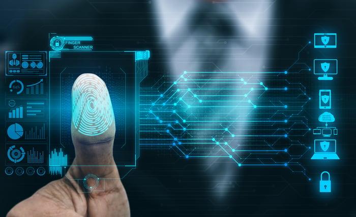 A fingerprint being digitally scanned to verify identity.