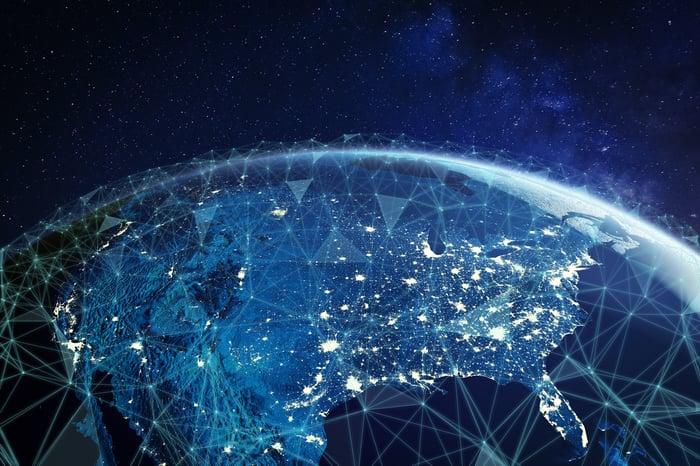 Wireless telecom network across United States.