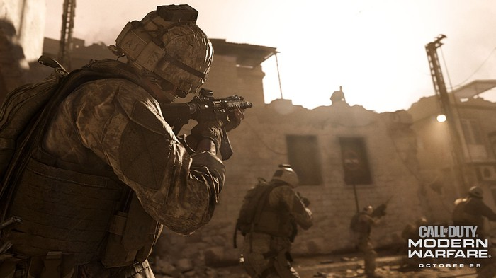 Screenshot from Call of Duty Modern Warfare showing soldiers in action during combat.