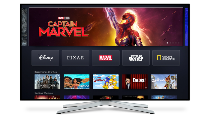 The Disney+ home screen displayed on a television.
