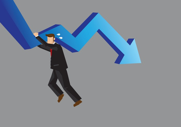 Businessman trying to hold up a falling arrow chart
