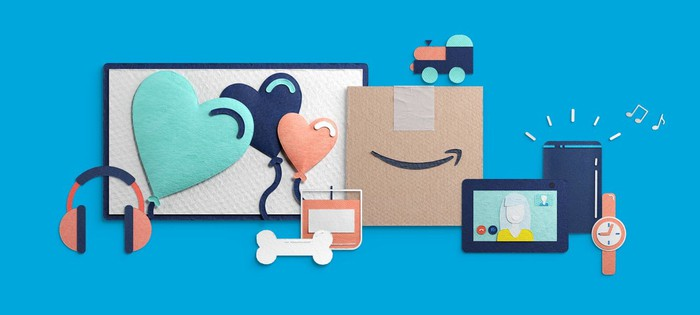 A collage featuring images of different images of gives and a box with the Amazon logo on it.
