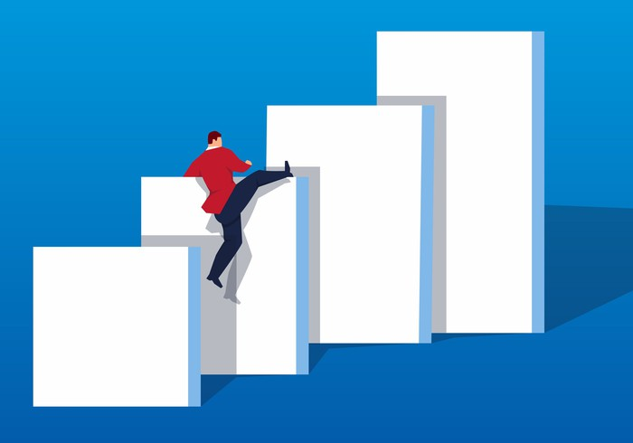 Man climbing increasingly higher walls
