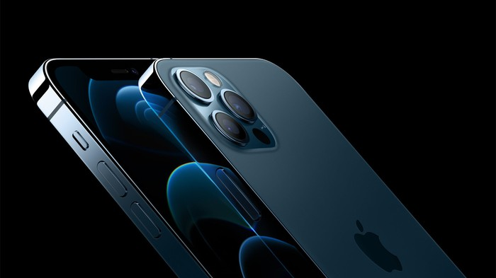 Close-up of rear camera on blue iPhone 12 Pro