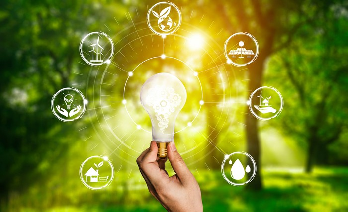 A lightbulb with energy symbols around it.