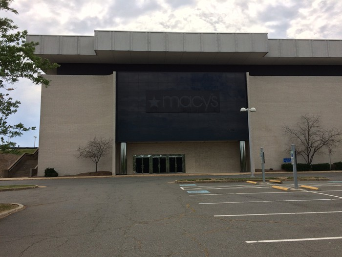 The exterior of a closed former Macy's store