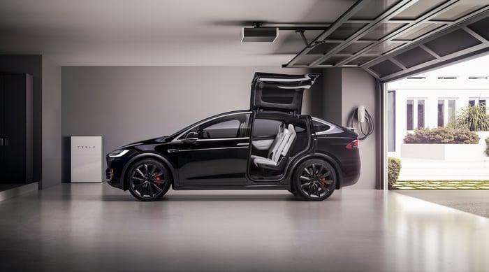A Model X in a garage.