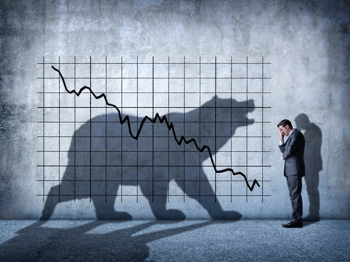 An investor covers his face with his hand as he faces a declining stock market as symbolized by the shadow of a bear.