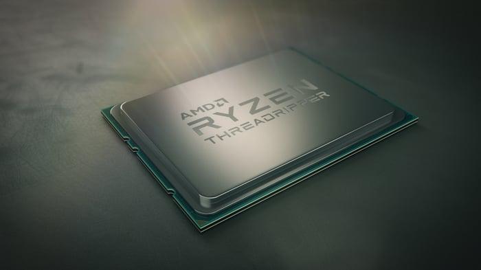 A product shot shows AMD's Ryzen Threadripper CPU chip