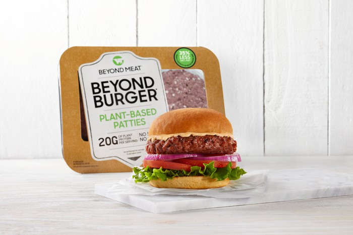 A product image shows a Beyond Meat burger sitting on a serving tray with a Beyond Meat package leaning up against the wall in the background.