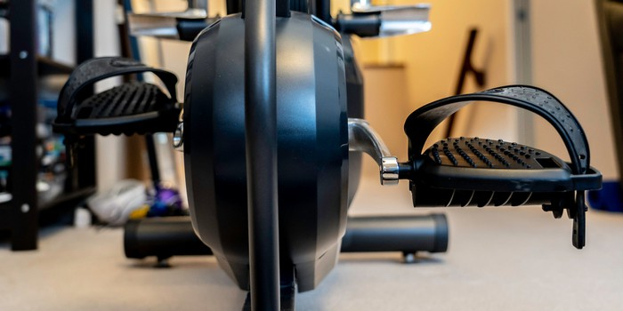 An exercise bike in a home gym