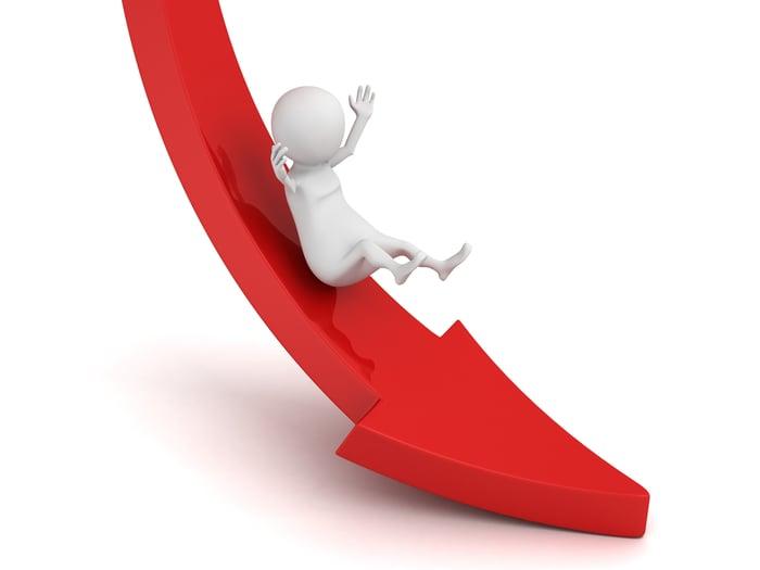 Cartoon character sliding down a red arrow.