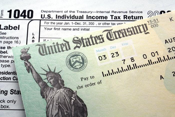 A 1040 tax return next to a treasury check
