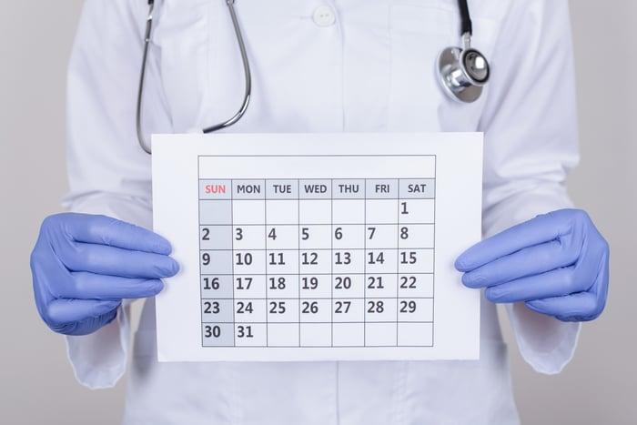 Doctor holding a calendar.