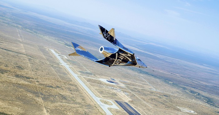 VSS Unity flying free over New Mexico during June 25 glide test flight.