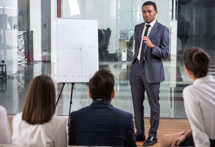 A businessman gives a presentation using a graph display.