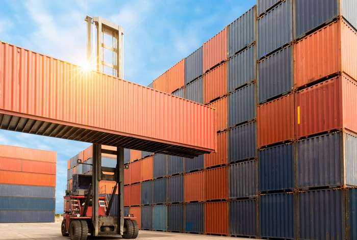 Intermodal crates stacked at a port.