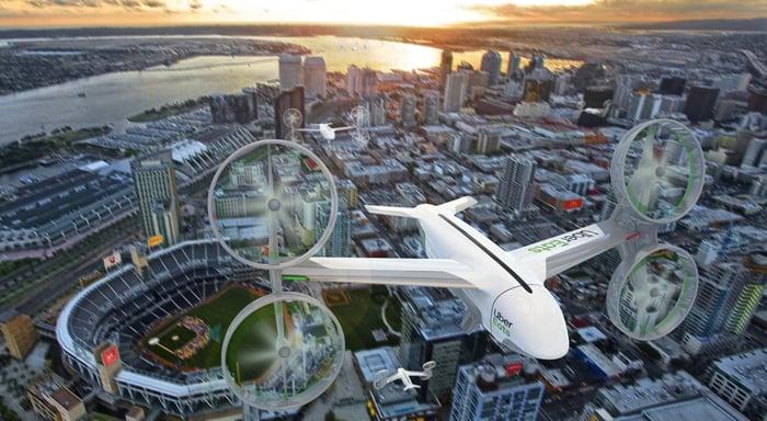 Rendering of Uber Eats drones over San Diego.