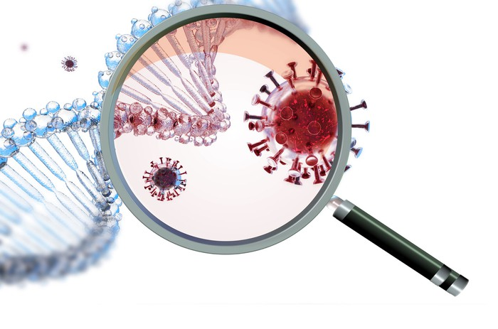 Magnifying glass over coronavirus and DNA double helix