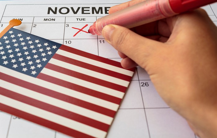 Hand holding a red marker making an X on Nov. 3 on a calendar with a small U.S. flag lying on top of the calendar