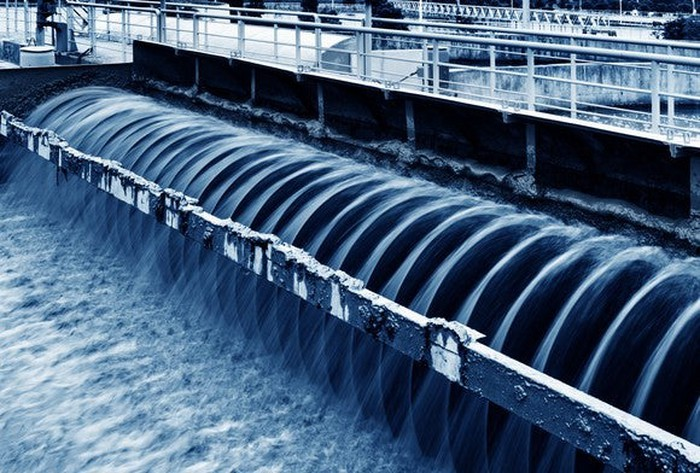 Water flowing through a wastewater treatment facility.