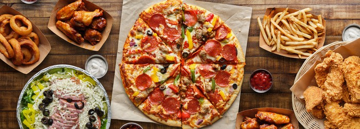 Pizza, fried chicken, and other fast food.