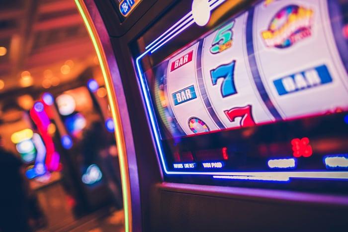 A slot machine in a casino.