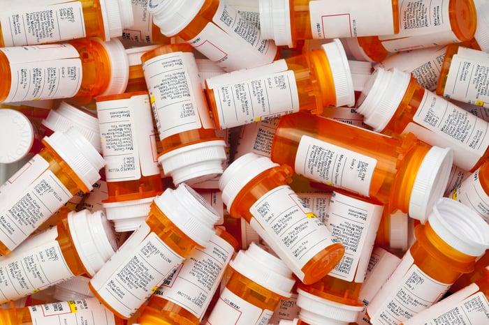 Pile of prescription pill bottles