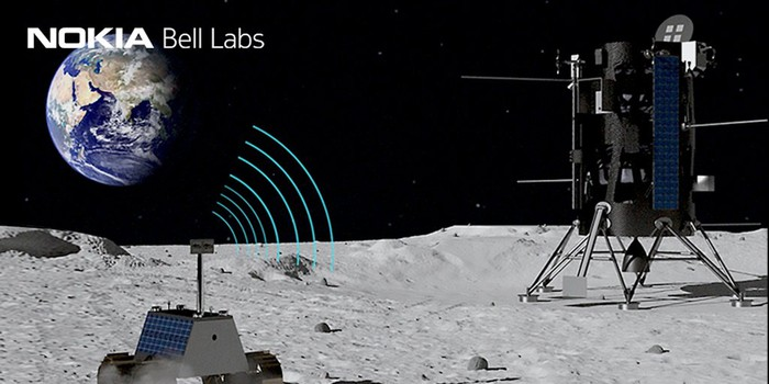 A rendering of a rover connecting wirelessly to a lunar lander
