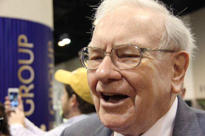 A jubilant Warren Buffett at his company's annual shareholder meeting.