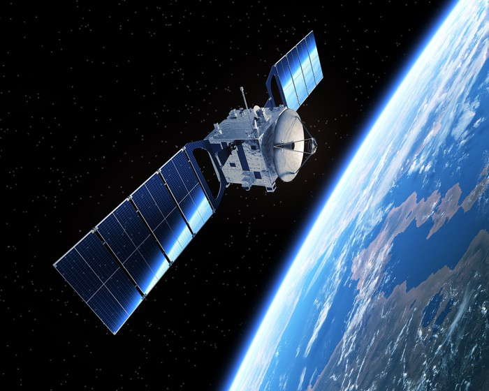 Satellite in space orbiting the Earth.