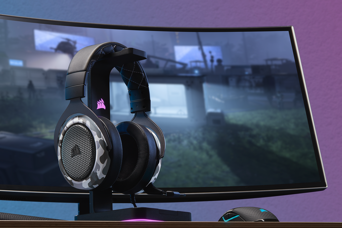 Corsair products including a headphone and a large computer screen.