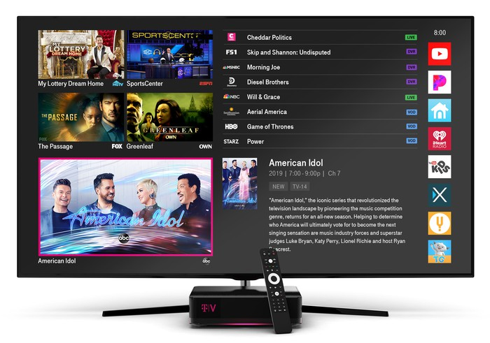 A product image shows the screen interface for T-Mobile's TVision service and the console box that provides the service.