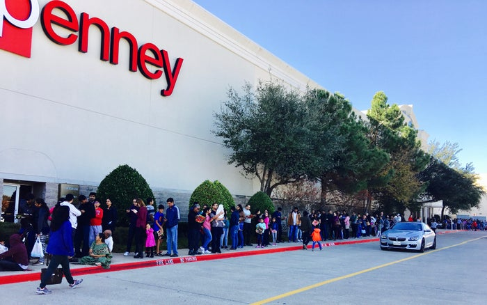 Lines of people outside of J.C. Penney store