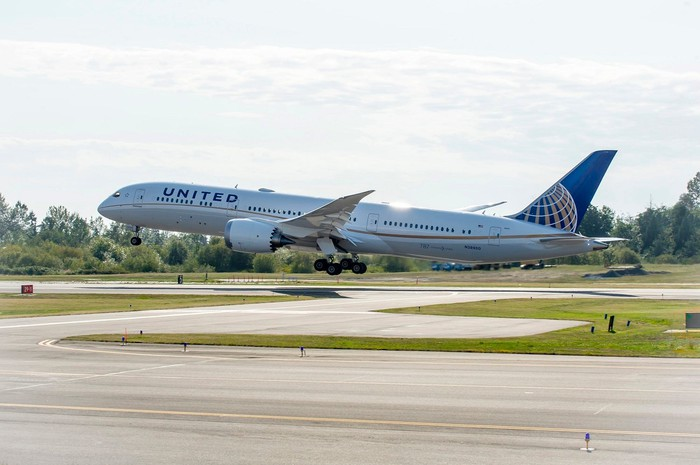 A United Airlines jet takes off.