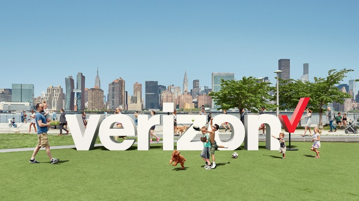 The Verizon logo outside.