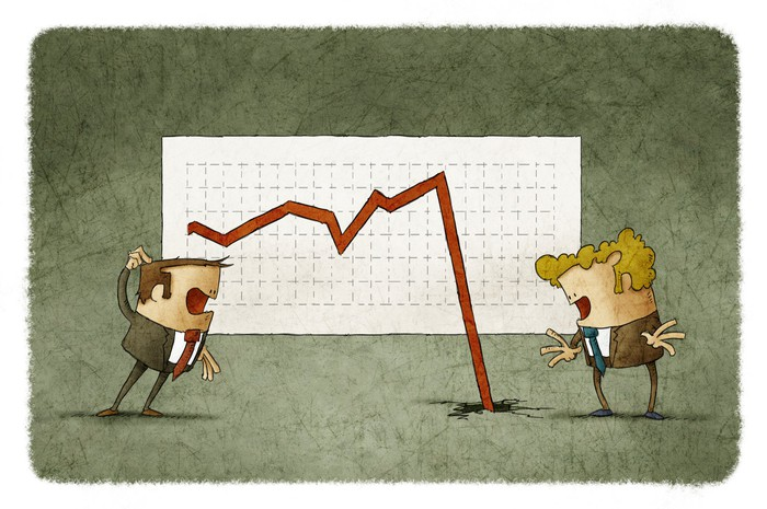 Cartoon characters confused by stock chart arrow falling and crashing into floor.