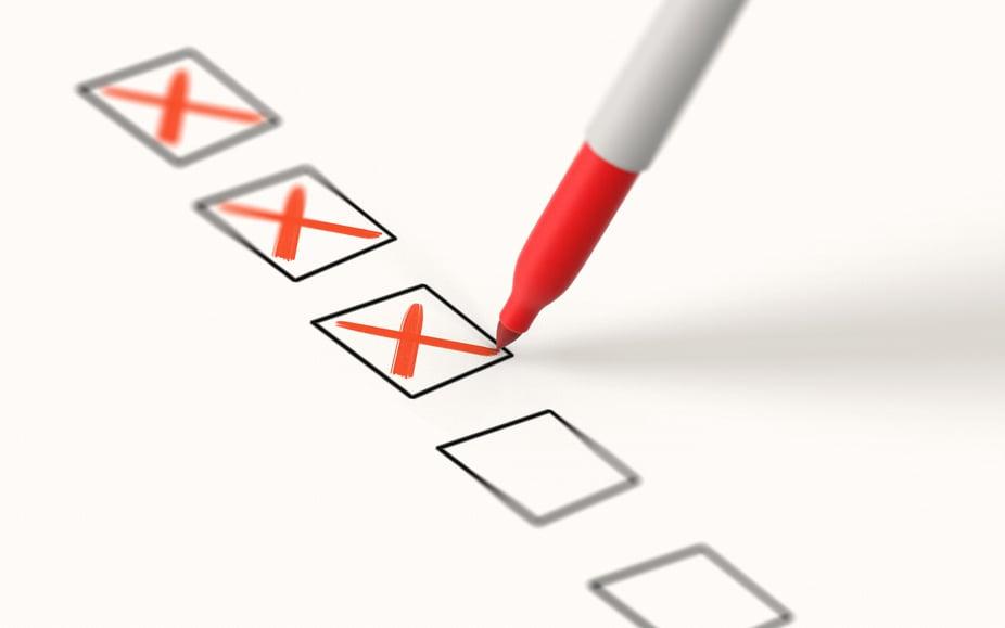 red x checklist
