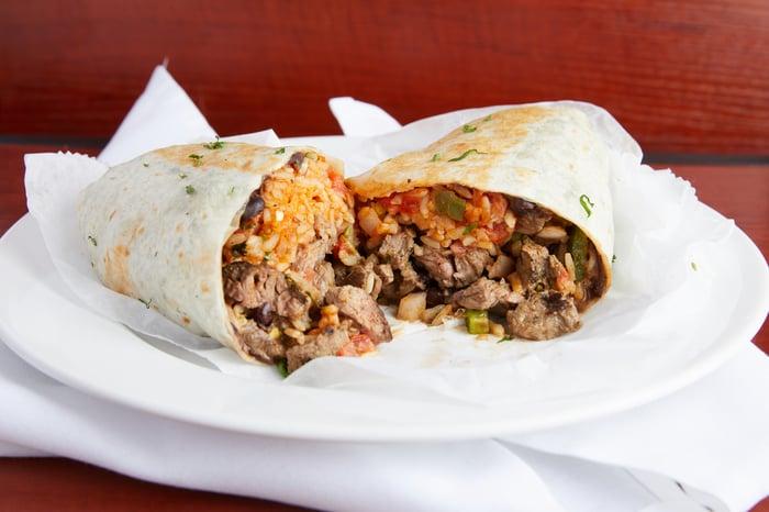 A steak burrito on a white plate.