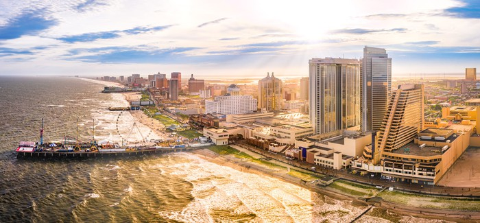 Late afternoon aerial panorama of Atlantic City.
