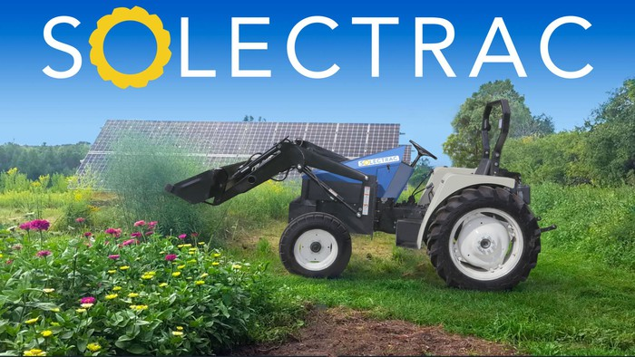 A Solectrac electric tractor