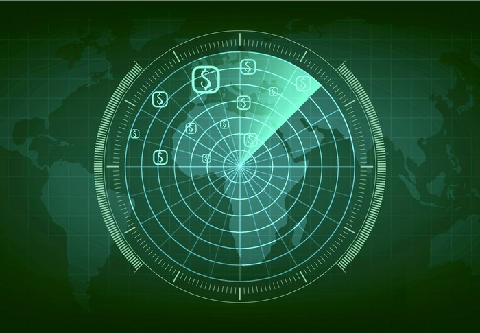 an illustration of a radar screen shows a radar sensor over a map of the world with several dollar signs highlighted.