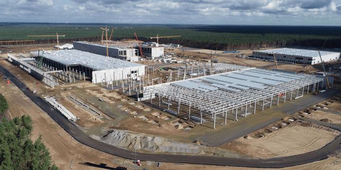 Tesla's Model Y factory construction in Berlin, Germany