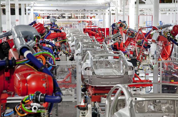 A production line in Tesla's factory in Fremont, California.