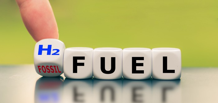 Hand turns a die and changes the expression fossil fuel to H2 fuel.