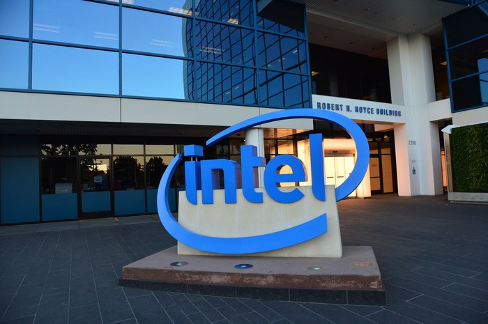 Intel sign in front of headquarters